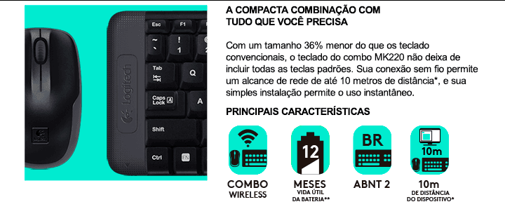 Teclado e Mouse Mk220 Preto Logitech Wireless